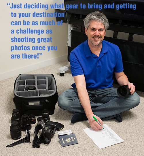 travel photographer Joel Wolfson with checklist preparing for travel