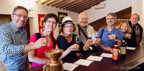 Our 2015 participants sample wines at a winery that's been in the same family for centuries- just one of many amazing experiences during our Villages of Tuscany workshop and tour.