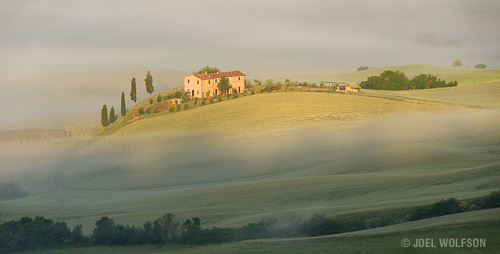 The view of the valley below at sunrise from our home base for the workshop in Tuscany