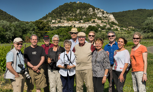 Our 2015 participants in front of a tiny village near our home base in Provence