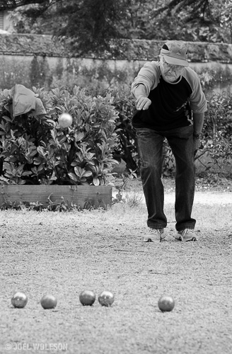 Petanque, also known as boules or longue is a favorite sport in France. It seems to be dominated by elderly men though I did happen on to some games with young men and on rare ocassions a woman. This man was concentrating hard during a tournament at a local park. I may do a separate post of petanque in the future.